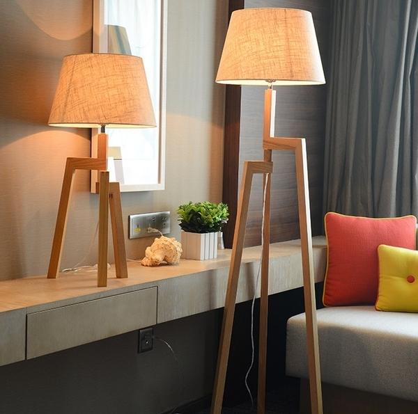 北歐實木簡約落地立燈 美式現代客廳書房餐廳閱讀書籍檯燈(含燈泡)可搭工業風