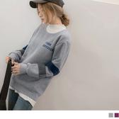 《AB11554-》內刷毛英文刺繡毛感拼接袖衛衣/上衣 OB嚴選