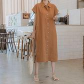 正韓 棉麻襯衫領開叉擺洋裝 (3342024) 預購