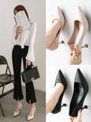 軟皮高跟鞋少女細跟春秋季新款百搭尖頭法式職業黑色貓跟單鞋 蜜拉貝爾