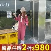 任選2件980連身裙慵懶風百搭過膝寬鬆長褲襯衫連身裙【08G-M1575】