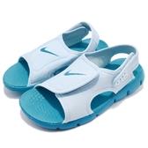 Nike 涼鞋 Sunray Adjust 4 GS PS 藍 水藍 小朋友 童鞋 中童鞋 涼拖鞋【PUMP306】 386520-405