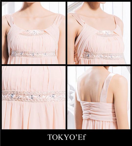 東京衣服 手工釘珠刺繡U領 高腰顯瘦長禮服 粉橘