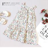 純棉 鄉村風小碎花蛋糕背心洋裝 連身裙 棉麻 薄款 夏日 女童 甜美 哎北比童裝