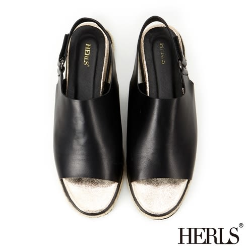 HERLS涼鞋 寬版 個性 麻底鞋-黑色