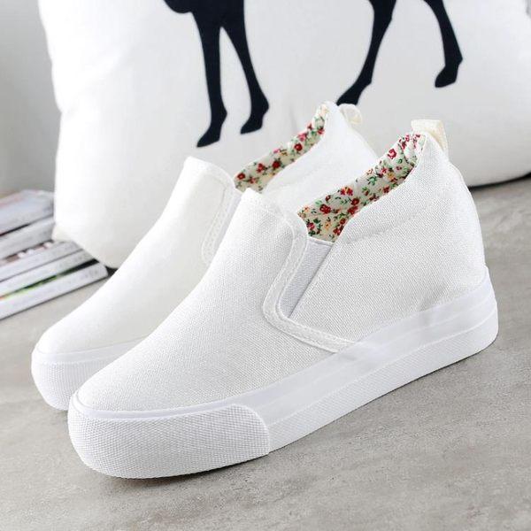 帆布鞋小白鞋 內增高厚底 正韓鏤空透氣一腳蹬懶人鞋