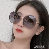 太陽鏡 新款金屬偏光太陽鏡女士時尚大框墨鏡防紫外線開車眼鏡8063 16【快速出貨】