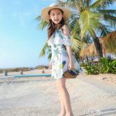 洋裝連身裙小女孩洋氣露肩沙灘裙