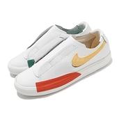【海外限定】Nike 休閒鞋 Blazer Slip 白 藍 黃 女鞋 皮革鞋面 無鞋帶 運動鞋 【ACS】 CJ1651-101