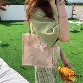 單肩包女韓國蕾絲手提購物袋復古夏天刺繡托特包【時尚大衣櫥】