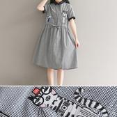 短袖洋裝 格紋 刺繡貓咪 棉麻 抽繩 短袖洋裝 連身裙【BS3670】 BOBI  07/27