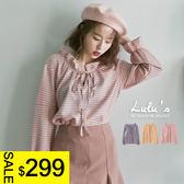 LULUS特價-Y-格紋荷葉領綁帶上衣-3色  現+預【01140620】