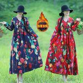 冬裝保暖加絨加厚V領洋裝連衣裙民族風文藝印花中長裙女洋裝 優惠兩天