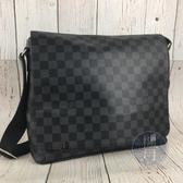 BRAND楓月 LOUIS VUITTON LV N41029 經典 黑色 棋盤紋 掀蓋 斜背包 郵差包