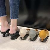 職業女鞋 軟皮高跟鞋不磨腳女鞋2021新款秋鞋舒適百搭軟底黑色細跟職業單鞋 曼慕