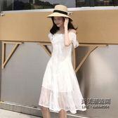 一字領甜美氣質小心機寬鬆顯瘦蕾絲假兩件復古chic風高腰連身裙潮 萬聖節服飾九折