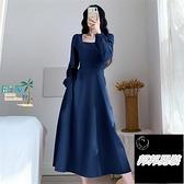赫本風方領藍色長袖連衣裙女法式收腰長版泡泡袖長裙洋裝短袖連身裙品牌【邦邦男裝】