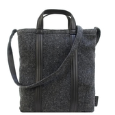 【南紡購物中心】agnes b.格子毛呢羊毛手提/斜背包(小/深灰)