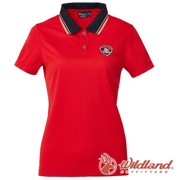 【wildland 荒野】女 COOLMAX 抗UV 排汗YOKE衣『紅色』0A61617 T恤 POLO衫 上衣 女版 短袖 排汗