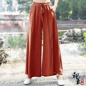 中國風文藝女休閒復古寬鬆薄款亞麻長褲褲子闊腿褲禪意
