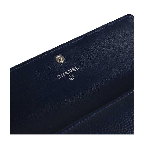 【CHANEL】深灰藍 荔枝皮 二折壓釦長夾 CH21000114