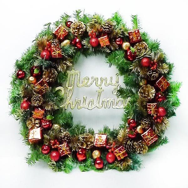 【摩達客】24吋豪華高級聖誕花圈(紅金色系)(台灣手工組裝出貨)