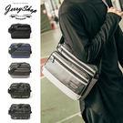 側背包JerryShop【XB08201】方形拼接剪裁側背包(5色) 大容量 方形包 單肩包
