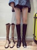 過膝長靴長靴過膝女秋季新款英倫風學生百搭機車騎士靴黑色粗跟瘦瘦靴【韓流時裳】