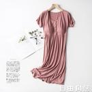 哺乳睡裙夏短袖孕婦睡衣夏季薄款產后月子服大碼哺乳連衣裙喂奶裙 自由角落