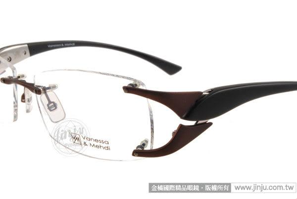 【金橘眼鏡】Vanessa Mehdi眼鏡 強悍視覺#VM1001 C0007 咖-黑色 無框 -全球專利可調式鏡臂 (免運)