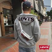 Levis 男款 連帽外套 / Oversize 寬鬆版型 / 大Logo帽子 / LOGO抽繩 / 灰
