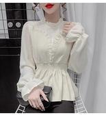 女士襯衫 秋冬季新款時尚假兩件蕾絲木耳邊拼接上衣女甜美百搭長袖襯衫 優拓