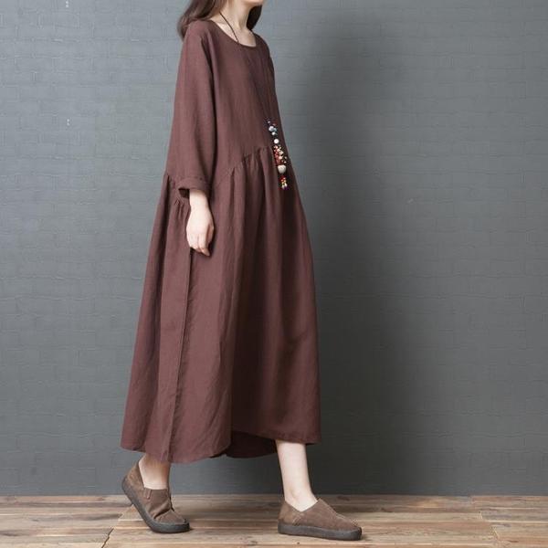 春裝新品1件85折 2020款中國風 文藝范寬鬆 大碼棉麻亞麻純色長袖連身裙-不含配飾