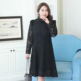 中大尺碼~小立領蕾絲半透鏤空袖長袖連衣裙(XL~4XL)