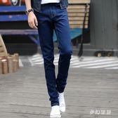 中大尺碼秋季新款彈力男士牛仔褲修身小腳黑色褲子sd3099『夢幻家居』