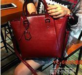 包包女2019新款潮韓版大氣手提包時尚簡約百搭大容量真皮側背女包 依凡卡時尚