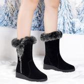 中筒雪靴 2018新款坡跟女士中筒保暖加絨皮毛一體短靴厚底棉鞋