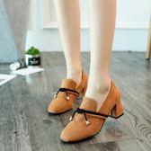 小皮鞋女秋季新款韓版百搭奶奶鞋粗跟單鞋復古瑪麗珍高跟鞋子—聖誕交換禮物