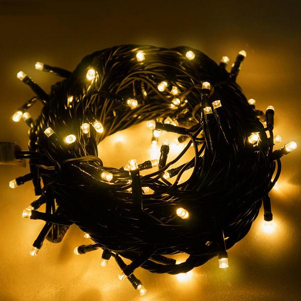 100燈LED燈串聖誕燈 (暖白光黑線)(附控制器跳機)(高亮度又省電)