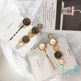 【HERA 赫拉】韓版水晶鈕扣碎鑽髮夾2件組-2款