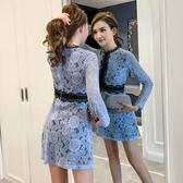 實拍女神款網紅穿搭單品新款秋裝蕾絲顯瘦氣質A字連衣裙9616T364.胖胖唯依