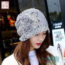 帽子女春秋包頭發帽蕾絲套頭帽春季花朵頭巾帽優雅韓版月子帽睡帽