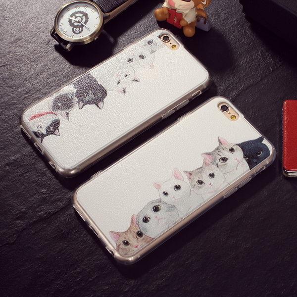 iphone7 日本小清新情侣貓荔枝紋全包邊iphone7/6s 7plus保護套5s軟套
