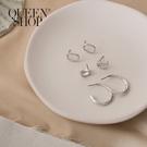Queen Shop【07030607】圓弧造型耳針式耳環套組*現+預*
