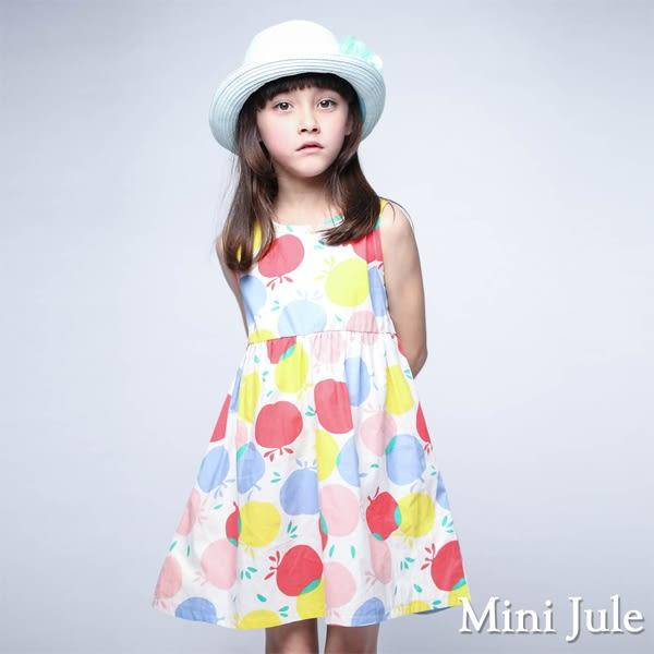 Mini Jule 女童 洋裝 繽紛蘋果緞帶蝴蝶結綁帶無袖洋裝(彩色)