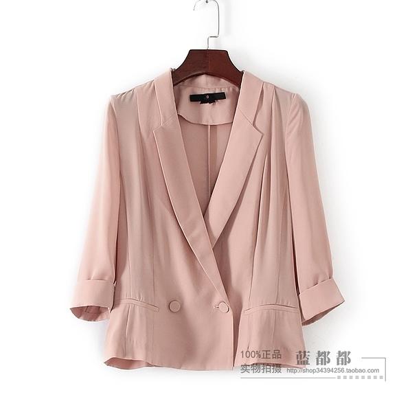 [超豐國際]面春夏裝女裝卡其色西裝式休閑OL通勤外套 307(1入)