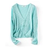 慵懶風很仙的寬鬆針織衫短款空調防曬衫冰絲V領開衫外套披肩女夏