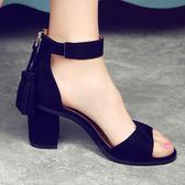 涼鞋女夏新款韓版中跟一字扣帶流蘇百搭粗跟高跟鞋黑色 居享優品