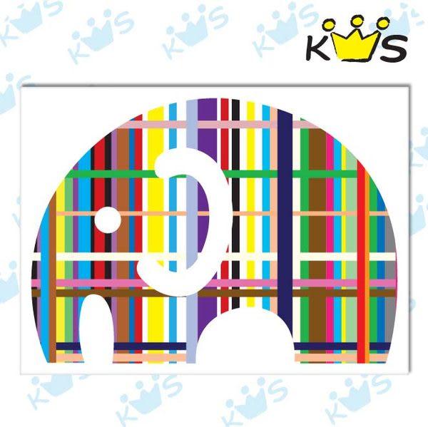 【浮雕貼紙】條碼大象 # 壁貼 防水貼紙 汽機車貼紙 4.7cm x 3.4cm