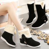 雪地靴女冬季新款2019韓版中筒靴子加絨保暖兩穿棉靴平底防滑短靴